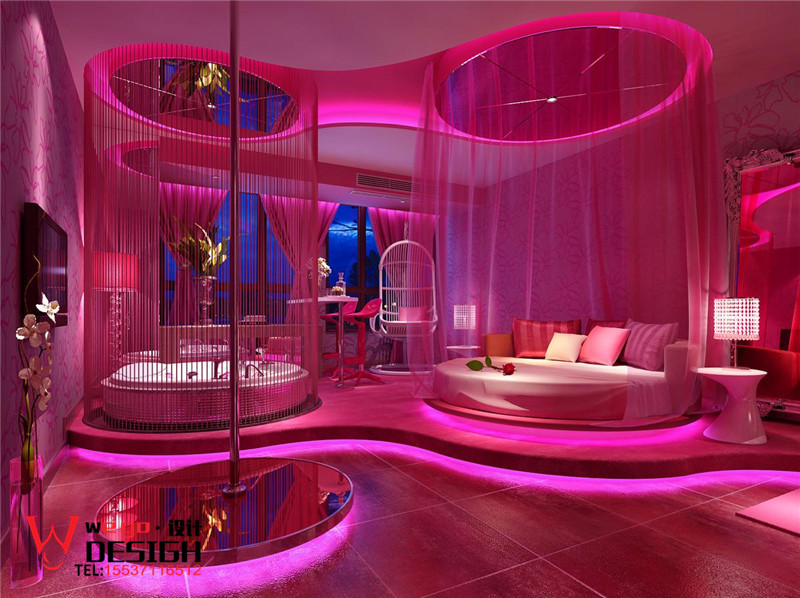 武汉巴黎之吻情侣酒店设计【红粉佳人】