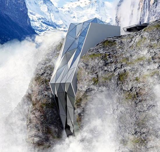 高山夹缝中的水晶酒店-阿尔卑斯悬崖酒店概念图